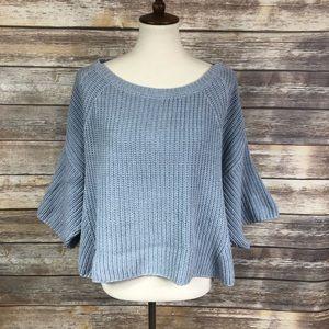 Free People Rayanne Shaker Scoop Neck Sweater XS